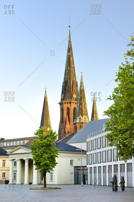Germany - June 6, 2018: St. Lambertikirche Oldenburg and Sclossplatz.