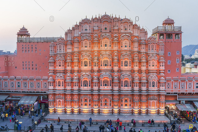India - January 12, 2019: The Hawa Mahal, Palace of Winds