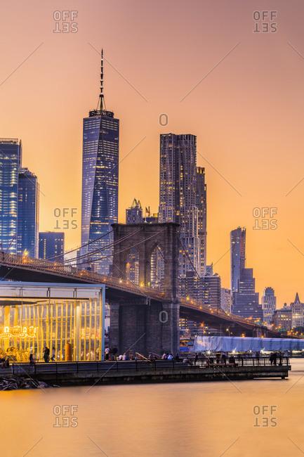 Brooklyn Bridge Park, View of Lower Manhattan skyline at night
