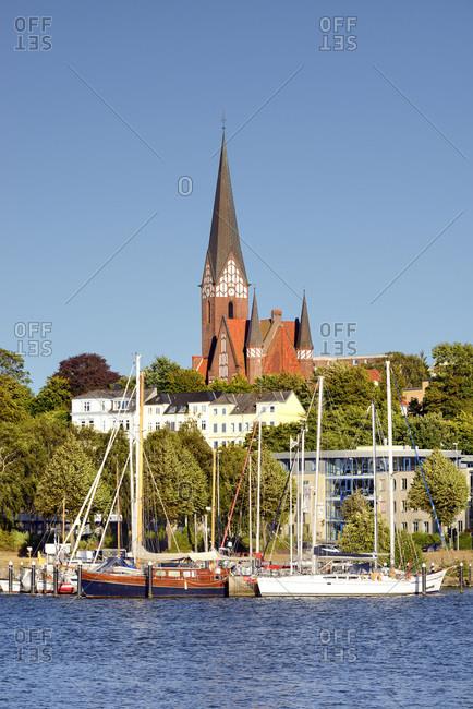 Germany - July 19, 2018: View over Sankt Jurgen across Im Jaich Waters.