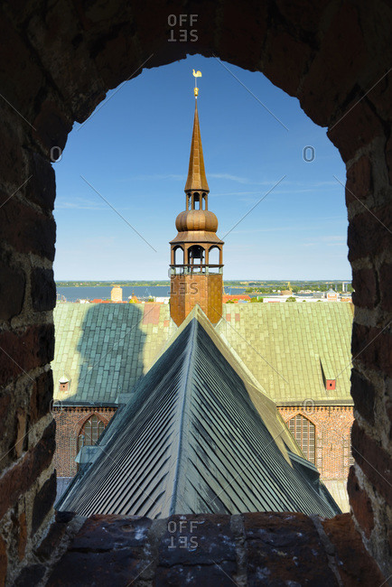 View over Stralsund from the top of St. Marien-Kirche with St.Nikolai-Kirche and Altes Rathaus in the background
