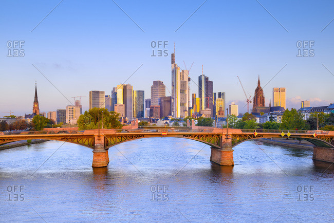 View over Frankfurt city center and financial district with Main River.