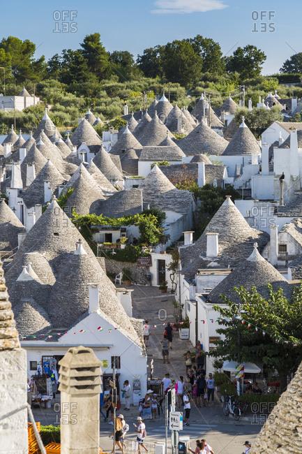 Italy - September 2, 2018: Trulli, typical houses of Alberobello town