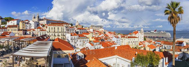 Portugal - April 18, 2019: Alfama, view over the old town from Miradouro das Porta do Sol