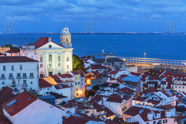 Portugal - April 16, 2019: Alfama, view over the old town from Miradouro das Porta do Sol