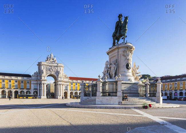 Portugal - April 18, 2019: Statue of Dom Jose and Triumphal Arch