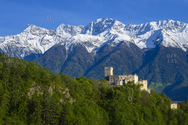 The Coira Castle and the Stelvio mountains in background