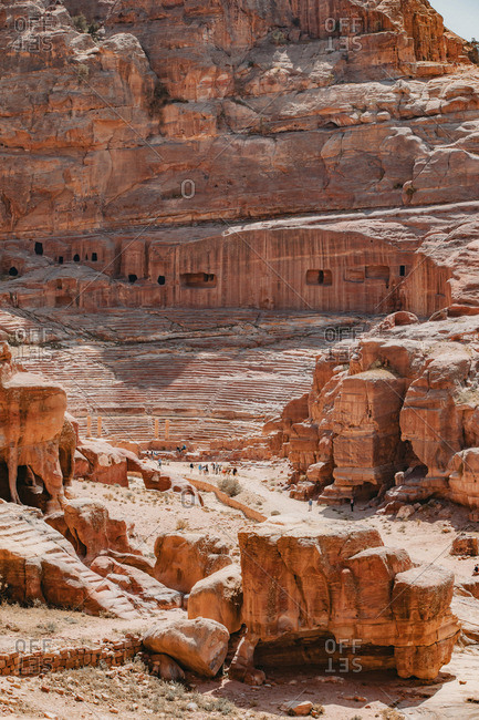 Tourists visiting Petra ruins in Jordan