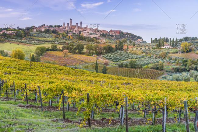 Italy - November 1, 2018: View of San Gimignano