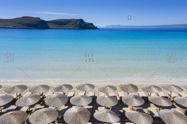 Simos beach, view towards the sea in Greece
