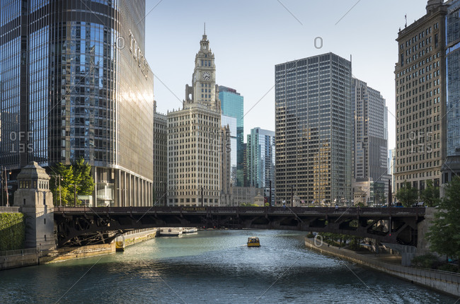 Chicago, Illinois - August 23, 2019: Tribune tower and the Wrigley building overlooking the Chicago River