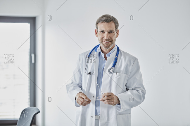 Male internist with a stethoscope