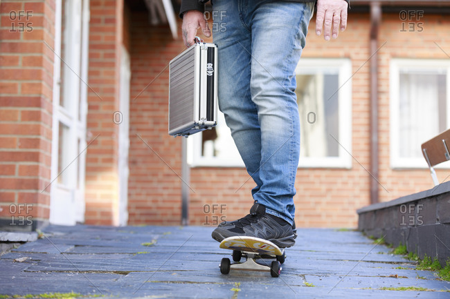 Low view of man skateboarding