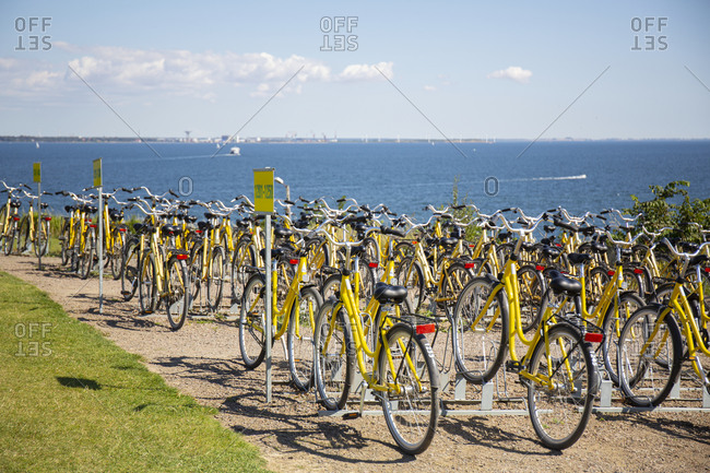 October 8, 2020: Bikes at bike hire station