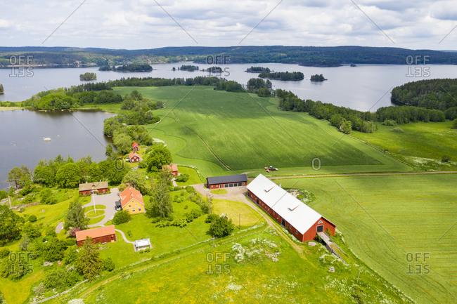 Rural landscape at lake - Offset