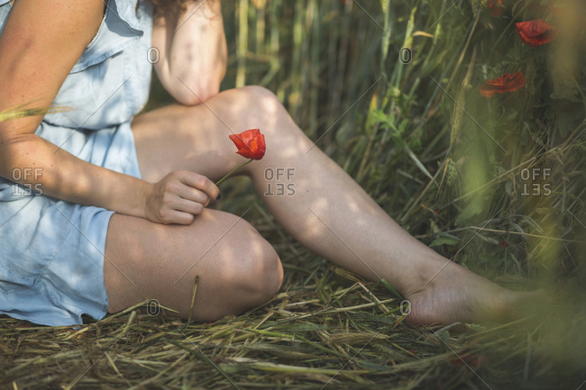 Woman holding flower in hand while sitting at poppy field