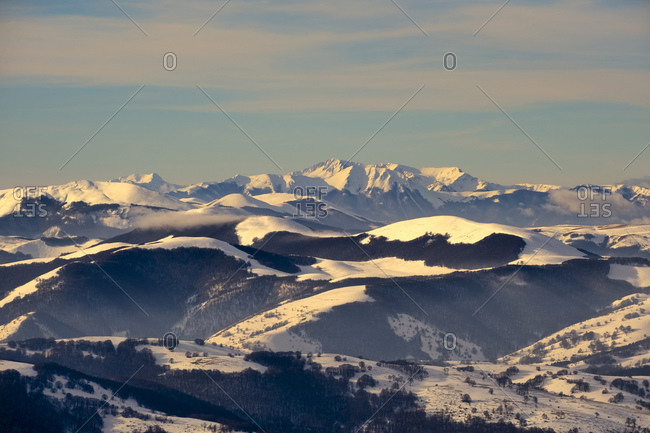 Scenic view of snowcapped Mount Vettore against sky at sunset- Umbria- Italy
