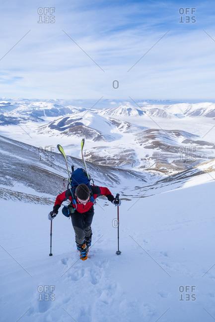 Man hiking on Sibillini mountain against sky- Umbrian- Italy