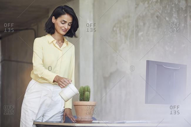 Smiling female entrepreneur watering cactus plant on desk in office