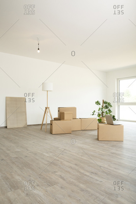 Cardboard boxes with laptop and electric lamp on floor against wall in new house