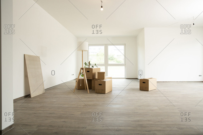 Electric lamp with cardboard boxes on hardwood floor in new house