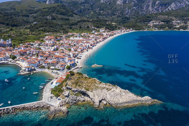Greece- Kokkari- Aerial view of coastal town in summer