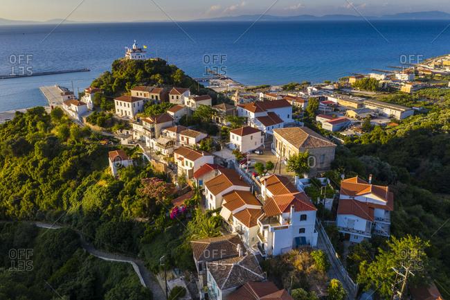 Greece- Karlovasi- Aerial view of Paleo Karlovasi neighborhood in summer