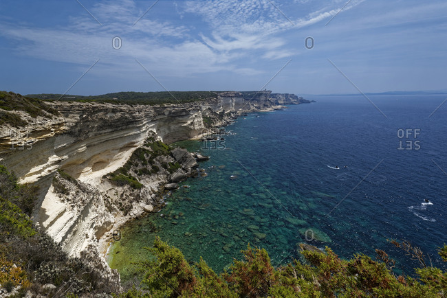 France- Corse-du-Sud- Bonifacio- Scenic view of coastal chalk cliffs