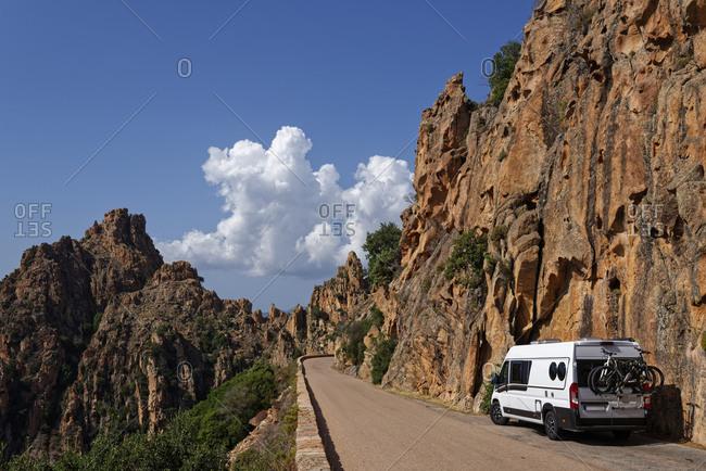 France- Corse-du-Sud- Piana- Van parked along road in Calanques de Piana