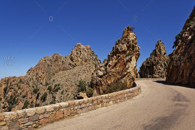 France- Corse-du-Sud- Piana- Road in Calanques de Piana