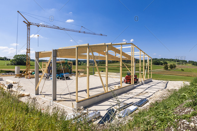Germany- Baden-Wurttemberg- Wooden frame of new building under construction