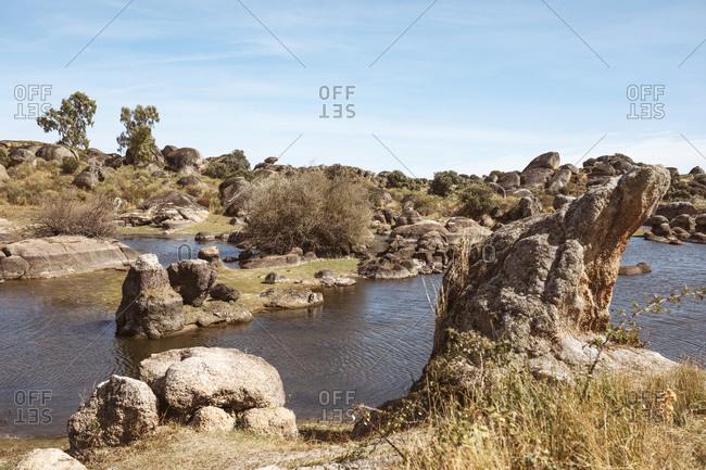 Rocky landscape of Los Barruecos in Extremadura, Spain.