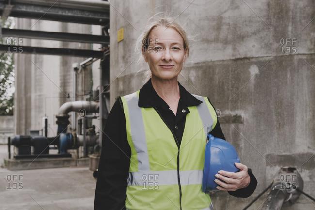 Female industrial worker on site