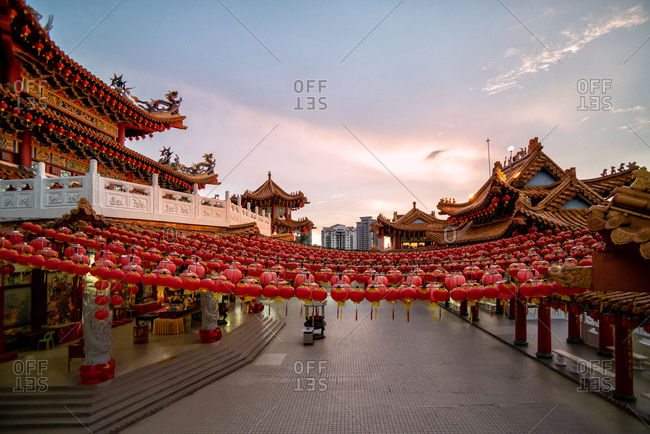 Chinese Temple full of red lanterns at blue hour in Kuala Lumpur, Malaysia