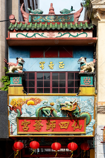 March 22, 2018: Facade of a Chinese temple in Kuala Lumpur, Malaysia