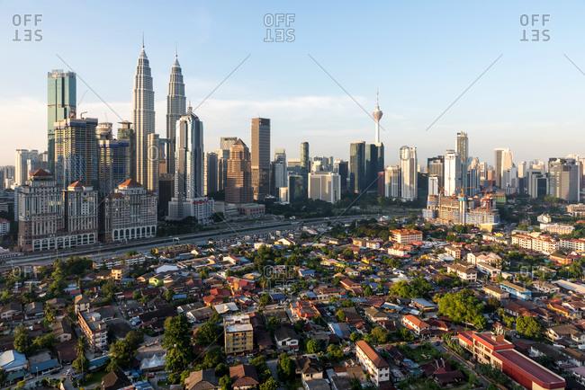 Skyline of traditional neighborhood in the financial buildings of Kuala Lumpur, Malaysia