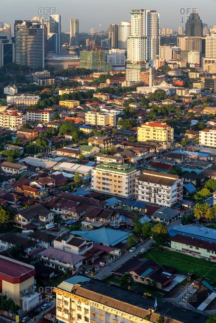 Skyline of traditional neighborhood and the financial buildings of Kuala Lumpur, Malaysia