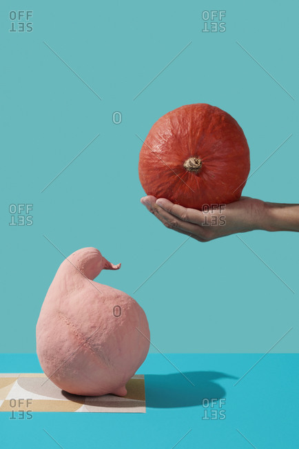 Man holding a pumpkin in his hand above a pink painted pumpkin on paper with a geometrical pattern on a blue background