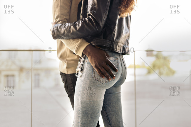 Close up of a multiethnic young couple having a romantic moment together