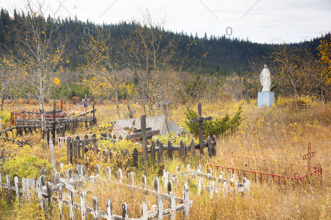 Fall colors at the First Nations Graveyard, Alexis Creek, Chilcotin Region, British Columbia, Canada
