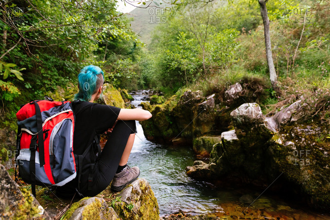 Back view of tourist with blue hair and backpack sitting on rock and admiring majestic scenery of river in mountainous area