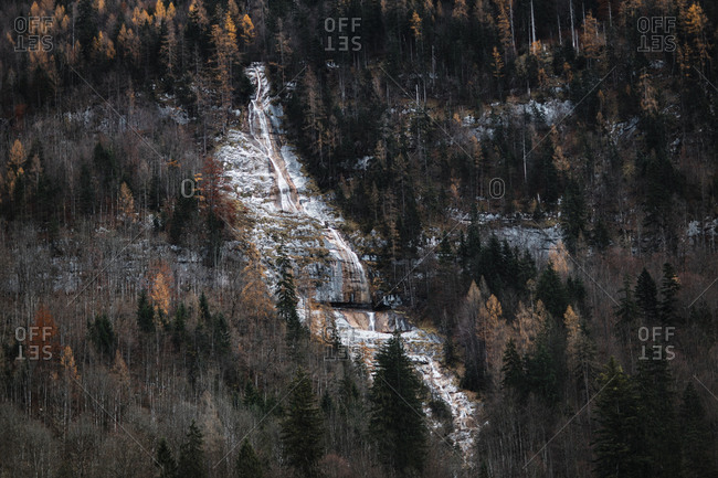 Amazing distant view of frozen snowy waterfall flowing on mountain slope covered with coniferous woods in cold autumn day