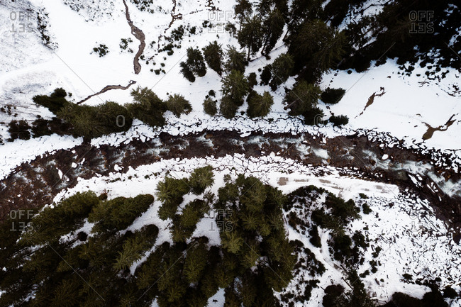 Drone view of amazing landscape of evergreen woods with frozen river in winter