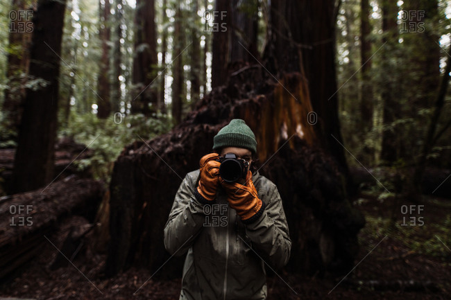 Unrecognizable male traveler taking photo on professional photo camera while standing in woods in fall