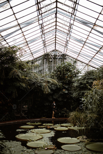 Remote view of anonymous tourist standing near pond with plants in glass hothouse on cloudy day in Scottish Highlands