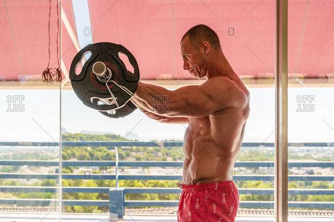 Side view of muscular sportsman standing in front of mirror in sports center and doing barbell curl exercises during workout