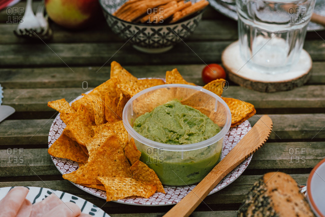 High angle of delicious nachos served on plate with guacamole for picnic in woods in Valle del Jerte