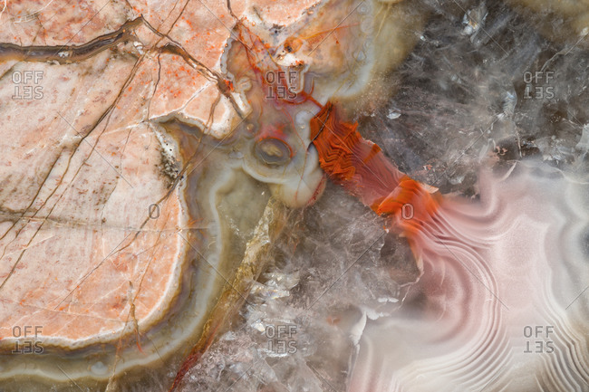 From above close up macro photograph of the agate and quartz structural detail in a Baker Ranch thunderegg from New Mexico