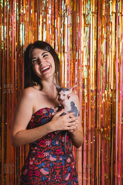 Laughing stylish female in trendy dress standing with cute kitten near glittering foil tinsel and looking away during New Year celebration