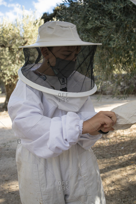 Beekeeper in protective costume and mask putting on gloves before work in apiary in summer garden